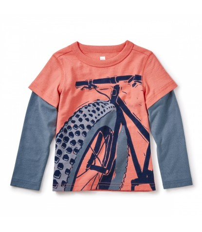 Tea Collection Fat Bike Graphic Tee in Orange Buoy Product Image
