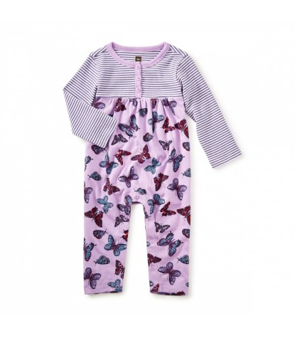 Tea Collection Sorcha Henley Romper in Lilac Product Image