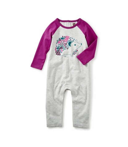 Tea Collection Hedgehog Graphic Romper in Dragonfruit Product Image