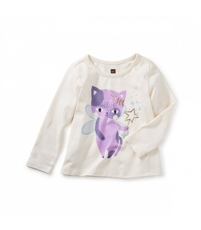 Tea Collection Cat Fairy Graphic Tee in Chalk Product Image