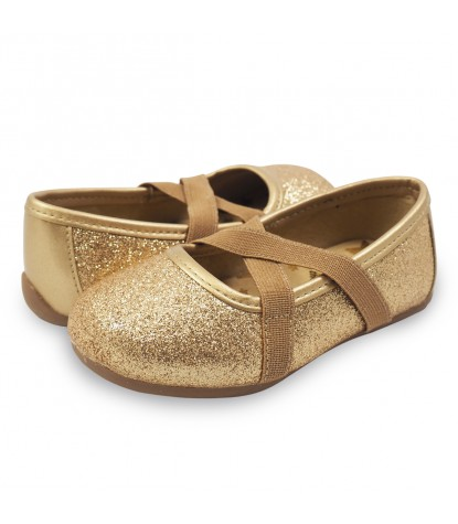 Livie and Luca Aurora Ballet Flat Gold Sparkle Product Pair Image
