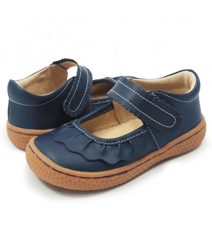 Livie and Luca Ruche Mary Jane Navy Blue Product Pair Image