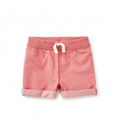 Tea Collection Girls Denim Like Cuffed Shorts in Coral Pink