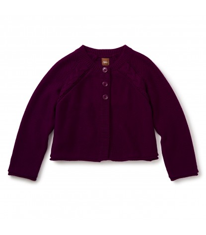 Tea Collection Agatha Cable Cardigan in Cosmic Berry Product Image