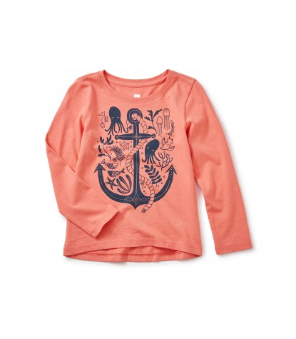 Tea Collection River Polly Graphic Tee in Orange Buoy Product Image