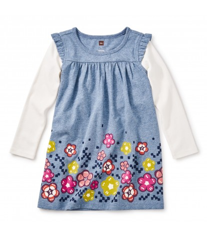 Tea Collection Girls Mackintosh Mighty Mini Dress in Marine Heather