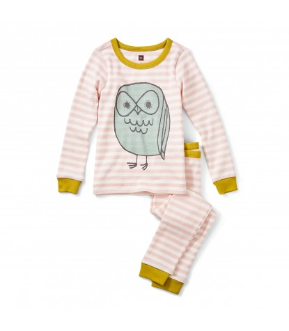Tea Collection Tawny Owl Pajamas in Soft Peach Product Image