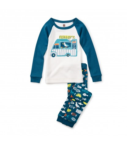 Tea Collection Boys Fish & Chips Pajama Set in Chalk Product Image