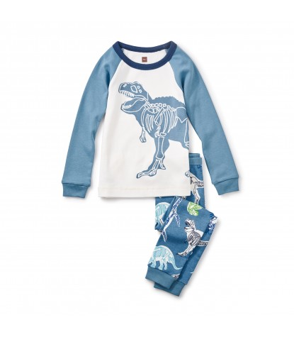 Tea Collection Boys Middle Jurassic Pajama Set in Chalk Product Image