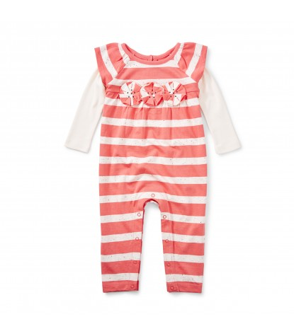 Tea Collection Saorsa Applique Romper in Orange Buoy Product Image