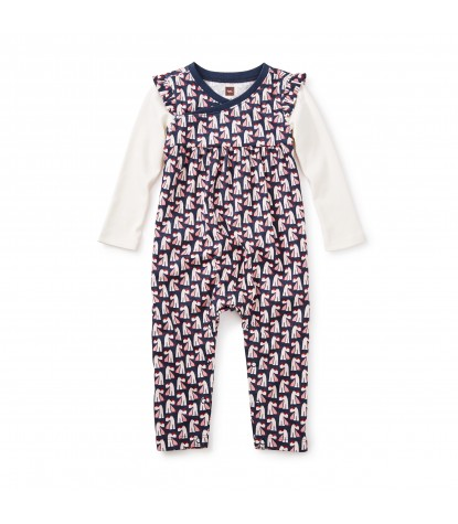 Tea Collection Scottie Dog Baby Romper in Indigo Product Image
