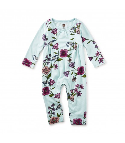 Tea Collectyion Glenna Pieced Romper in Canal Blue Product Image