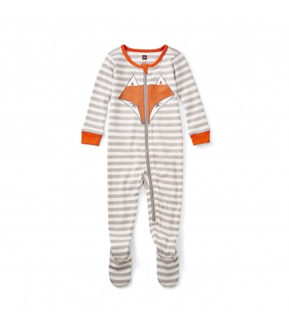 Tea Collection Tod Footed Baby Pajamas in Storm Grey Product Image