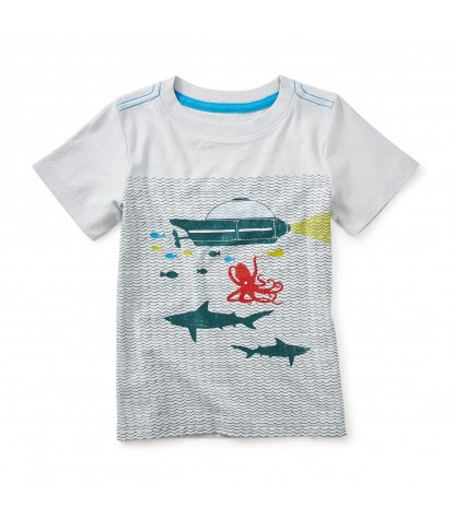 Tea Collection Aquanauts Graphic Tee in Oyster Grey