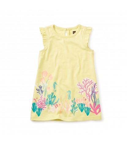 Tea Collection - Reef Garden Graphic Baby Dress in Yuzu