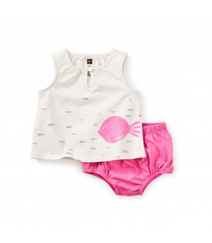 Tea Collection - Mallacoota Baby Outfit in Chalk