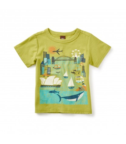 Tea Collection Sydney Harbor Graphic Baby Tee in Limeburst