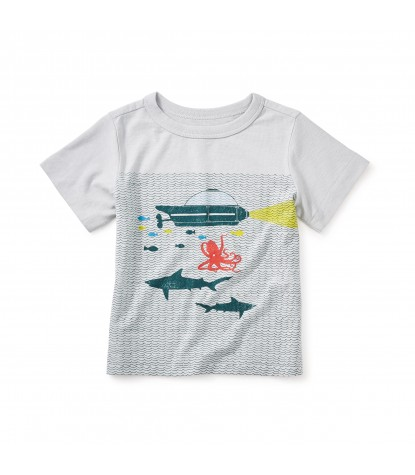 Tea Collection Aquanauts Graphic Baby Tee  in Oyster Grey