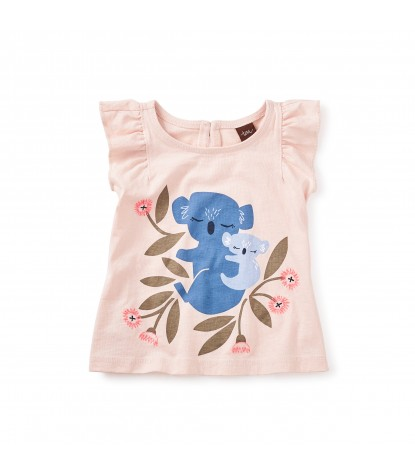 Tea Collection Queensland Koala Graphic Baby Tee in Soft Peach