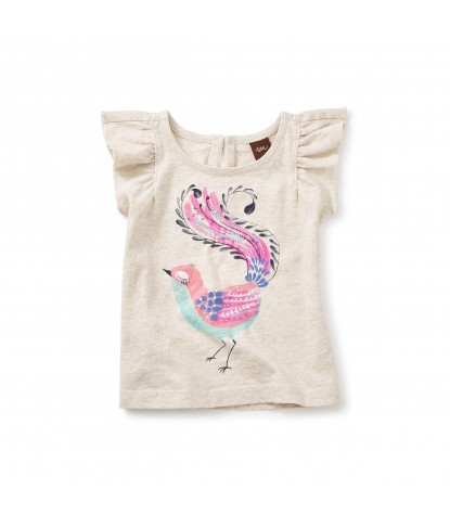 Tea Collection Lyre Graphic Baby Tee in Oatmeal