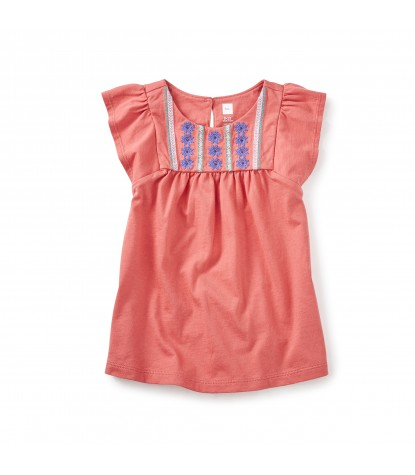Tea Collection Sydney Embroidered Baby Dress in Coral Pink