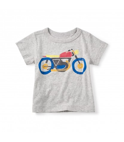Tea Collection Motorbike Graphic Baby Tee in Heathered Grey