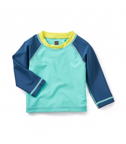 Tea Collection Ripper Baby Rash Guard in Glaze Blue