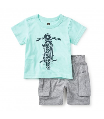 Tea Collection Throttle Baby Boy Outfit in Mint Julep