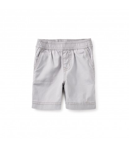 Tea Collection Easy Does It Twill Baby Shorts in Storm Grey