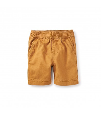 Tea Collection Easy Does It Twill Baby Shorts in Burnt Khaki
