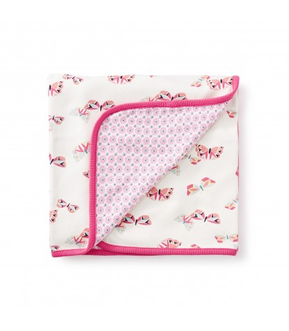 Tea Collection Flutterby Reversible Blanket in Neon Pink