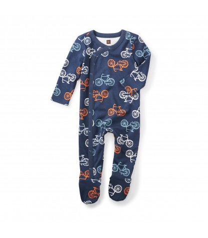 Tea Collection Cycle Footed Baby Romper in Indigo