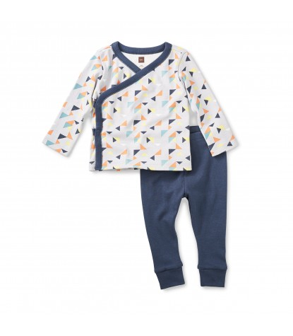 Tea Collection Archer Baby Outfit in Oyster Grey
