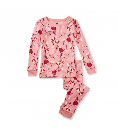 Tea Collection Girls Caer Pajama Set in Neon Rose Product Image