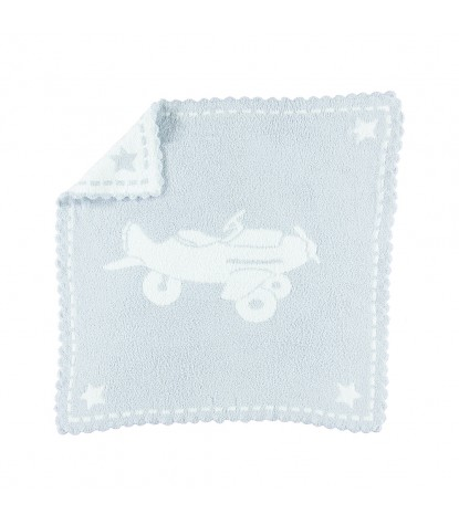 Barefoot Dreams – CozyChic Scalloped Receiving Blanket Blue & White Airplane