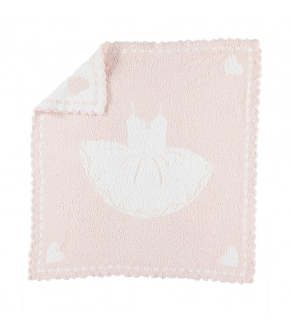 Barefoot Dreams – CozyChic Scalloped Receiving Blanket Pink & White Tutu