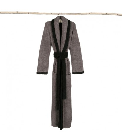 Barefoot Dreams – CozyChic Contrast Trim Robe in Charcoal/Midnight