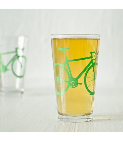Vital Industries Bicycle Pint Glass in Green