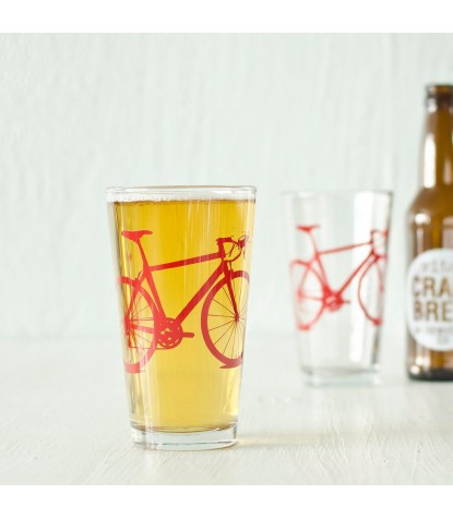 Vital Industries Bicycle Pint Glass in Red
