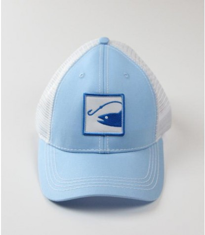 Souther Hooker Fish Logo Baby Blue Trucker Hat Front