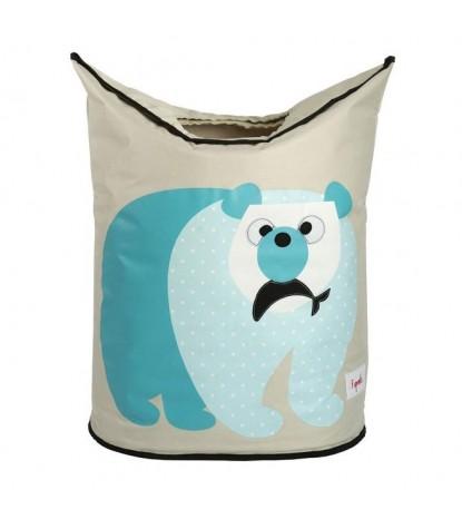 3 Sprouts Polar Bear Laundry Hamper Closed