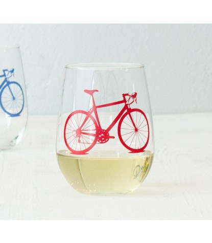 Vital Industries Bicycle Stemless Wine Glass in Red