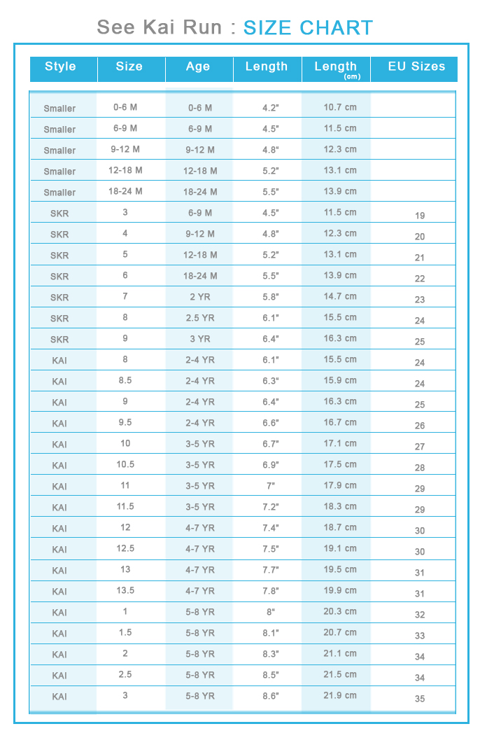 See Kai Run Size Chart