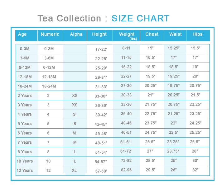 Tea Collection Size Chart